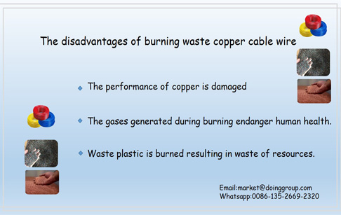 What are the disadvantages of burning waste copper cable wire?
