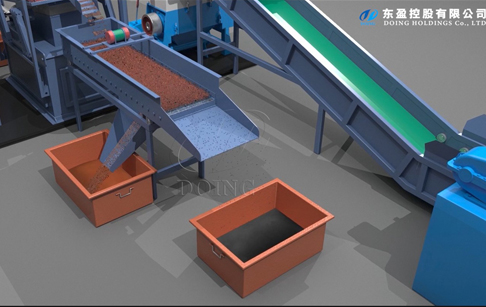 3D video of copper wire recycling machine working process
