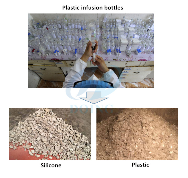 Plastic infusion bottle recycling machine